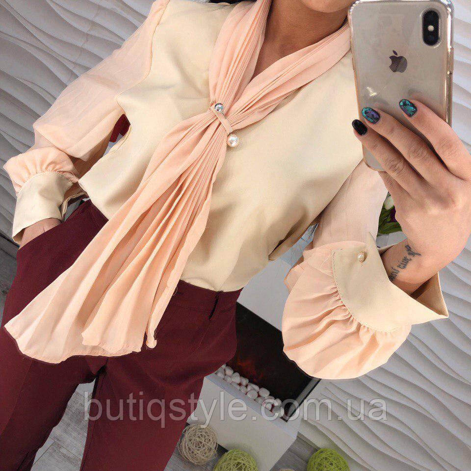 Стильная женская рубашка блузка шифон с галстуком и брошью черная, беж