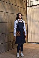 Фартук джинсовый с кожаными ремнями, униформа для официантов и барменов, индивидуальный пошив, все размеры