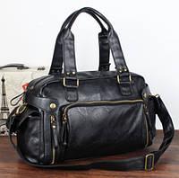 Кожаная мужская сумка Экокожа Черный матовый
