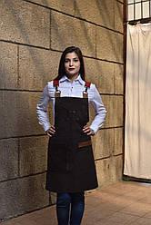Фартук коричневый с регулируемыми ремнями, униформа для персонала, индивидуальный пошив, все размеры