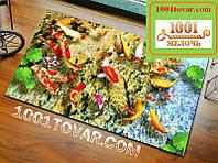 """Набор из 2-х ковриков с 3D печатью """"Золотые рыбки"""" в ванную 80х50 см. итуалет 40х50 см."""