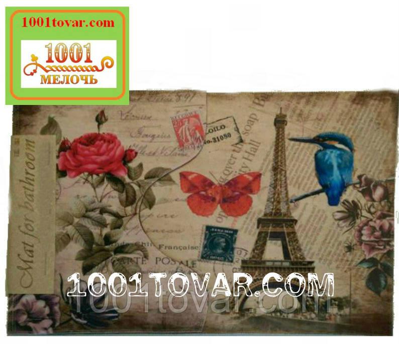 """Одинарный коврик с 3D печатью """"Париж"""" в ванную 80х50 см."""