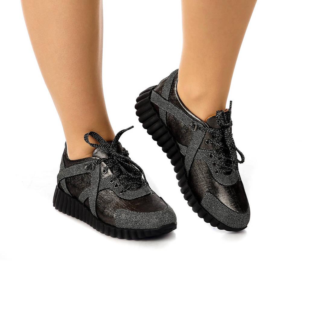 Кроссовки женские демисезонные кожаные темно-серебристые