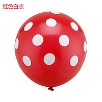 """Воздушный шарик """"Божья Коровка"""" пастель красный в белый горох круговая печать. 12 дюймов / 30см."""