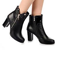 Женские ботинки (8061.1) 36, 37, 38, 39, 40 - демисезонные кожаные черные на высоком каблуке