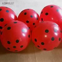 """Воздушный шарик """"Божья Коровка"""" пастель красный в белый горох 12""""/ 30см."""