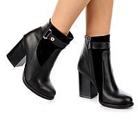Женские ботинки (8059.1) 36, 37, 38, 39, 40 - демисезонные кожаные черные на широком каблуке