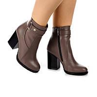 Женские ботинки (8059.3) 36, 37, 38, 39, 40 - демисезонные кожаные кофейные на широком каблуке