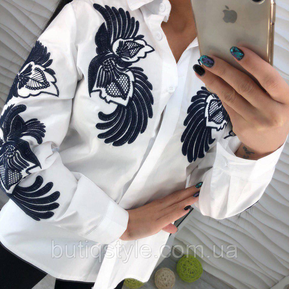 0c7216310f5 Красивая котоновая белая блузка рубашка с вышивкой тренд 2018 года -