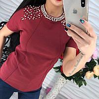 Женская красивая футболка стрейч-котон с жемчугом марсала, черная