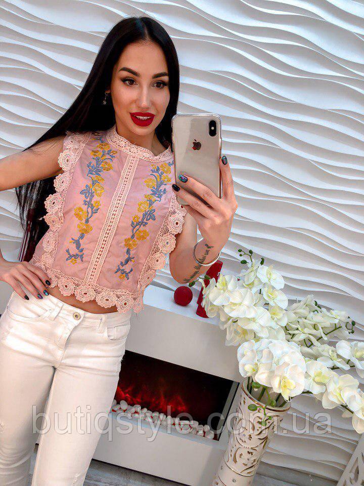 Стильная женская блузка котон с вышивкой белая, розовая, голубая, синяя
