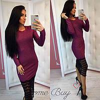 Платье-резинка с люрексом и гипюровым кружевом, женские трикотажные платья оптом