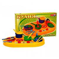 """Кухня №1 1912 (4) """"ТЕХНОК"""", детская игровая кухня, игрушка для девочек, посудка"""