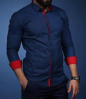 Мужская синяя приталенная рубашка