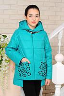 Весенне-осенняя куртка «Миранда» детская на девочку 7-12 лет (коллекция 2018, р. 32-42 / 122-152 см) ТМ MANIFIK Бирюза