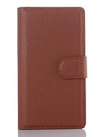 Кожаный чехол-книжка для Sony Xperia Z3 D6603, D6633 коричневый