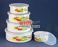"""Набір судків (контейнерів) (5шт.) емальованих з пластиковими кришками """"Фрукти"""" Stenson MH-0070-1, фото 1"""