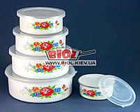 """Набор судков (контейнеров) (5шт.) эмалированных с пластиковыми крышками """"Розы"""" Stenson MH-0070-2"""