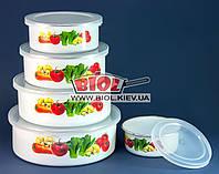 """Набор судков (контейнеров) (5шт.) эмалированных с пластиковыми крышками """"Овощи"""" Stenson MH-0070-6"""