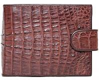 Стильное мужское портмоне из настоящей кожи крокодила в коричневом цвете (1002a. ALM 100T Brown)