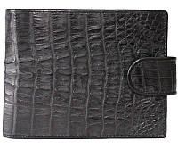 Стильное мужское портмоне из настоящей кожи крокодила в черном цвете (1002. ALM 100T Black)
