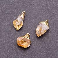 Кулон из натурального камня Цитрин L-2-2,5см d-8-12мм золотистый металл