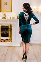 Платье молодежное Амалия зеленое велюр откритая спинка 42, 44, 46, 48, 50р