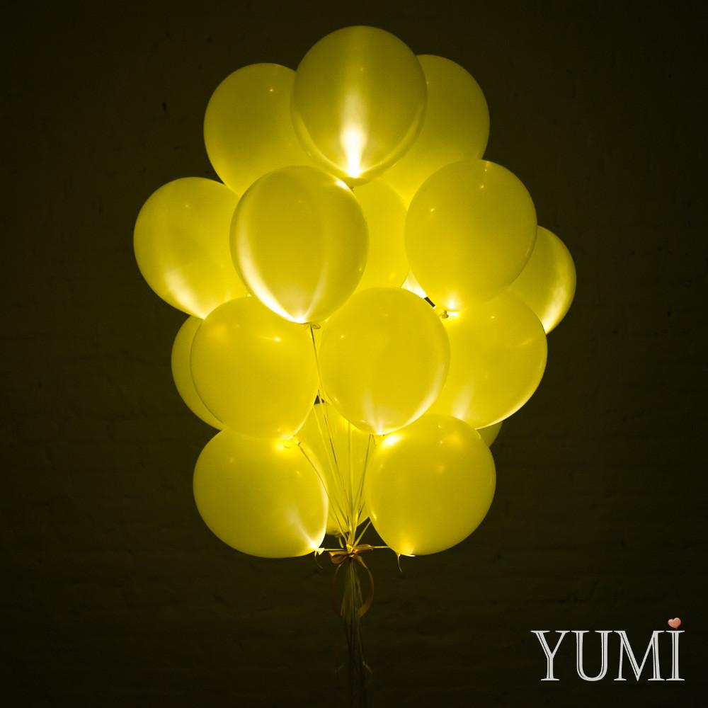 Связка из 20 жёлтых светящихся шаров с гелием