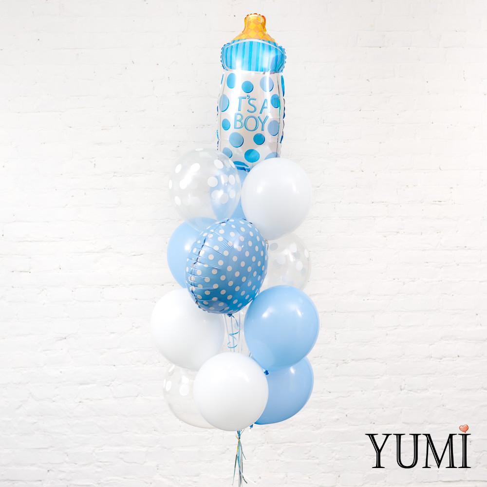 Фонтан из гелиевых шариков на выписку из роддома для мальчика