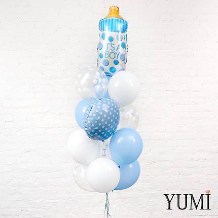 Фонтан из гелиевых шариков на выписку из роддома для мальчика, фото 2