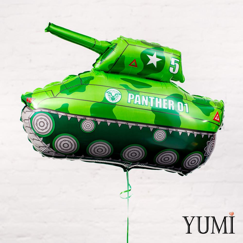 Фольгированный гелиевый шар для мальчика зелёный танк