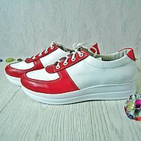 Женские туфли из натуральной кожи белого и красного цвета,  на утолщенной подошве белого цвета,  на шнуровке