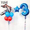 Композиция: цифра 3 синяя с гирляндой, звезда синяя с надписью и связка: 3 синих, 3 красных шара и Трансформер