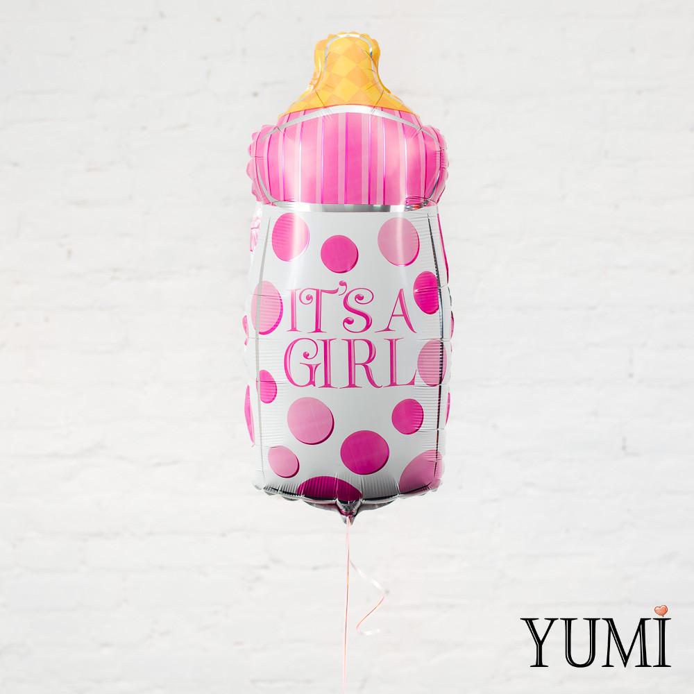 """Воздушный шар белая в розовый горошек бутылочка """"It's a Girl"""""""