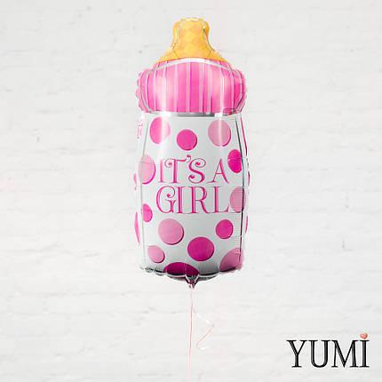 """Воздушный шар белая в розовый горошек бутылочка """"It's a Girl"""", фото 2"""