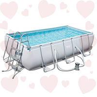 Bestway 56441 (404х201х100см) + фильтр- насос и лестница каркасный прямоугольный бассейн