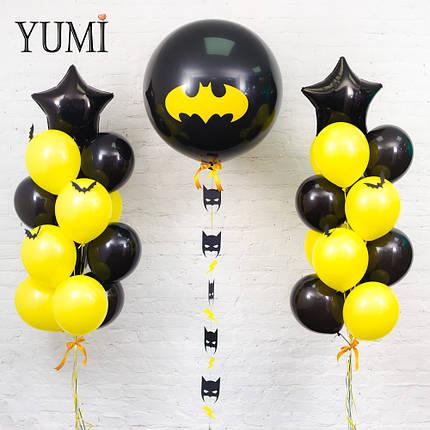 Композиция Batman: шар-гигант чёрный с декором, 12 черных, 12 жёлтых шаров, 2 чёрные звезды и 6 летучих мышей, фото 2