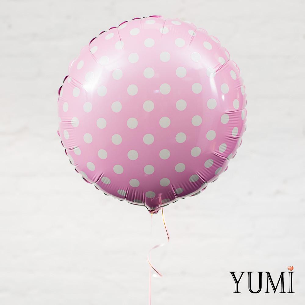 Розовый фольгированный шар с гелием в горошек