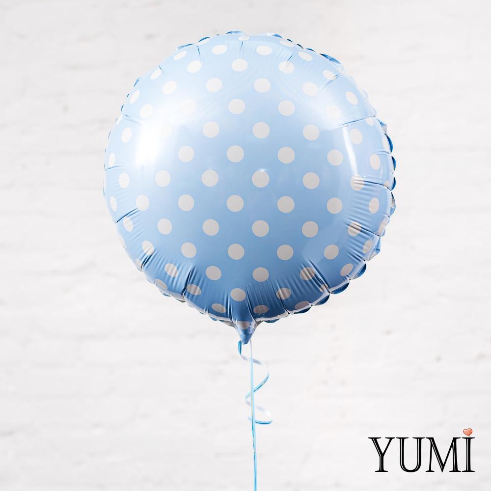 Голубой фольгированный шар в белый горох