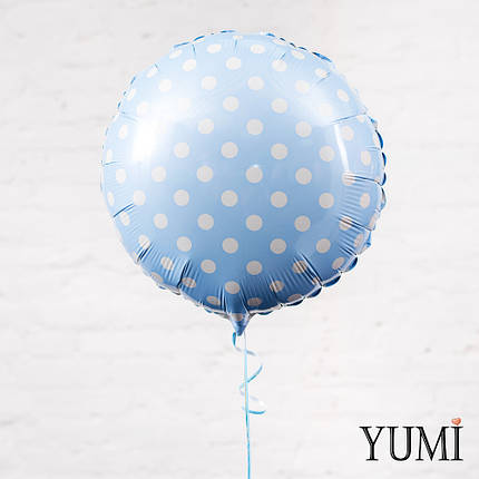 Голубой фольгированный шар в белый горох, фото 2