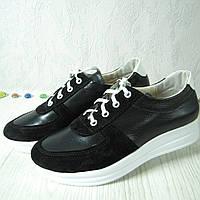 Женские туфли из натуральной кожи и замша чёрного цвета,  с вставкой из белой кожи