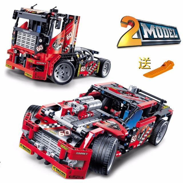 Конструктор Decool 3360 Гоночный грузовик + драгстер 608 дет