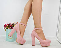Женские замшевые туфли розовые на каблуках