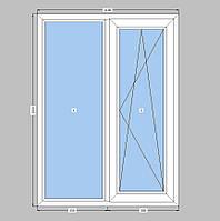 2-створчатое окно Rehau-70 с однокамерным стеклопакетом,кухонное окно одной створкой Рехау-70
