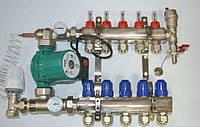 Коллектор для теплого пола в сборе Gross премиум на 4 выхода с насосом