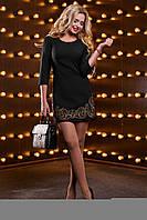 Женское платье из костюмной ткани с вышивкой, чёрное, размер 42, 44, 46, 48
