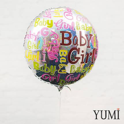 """Зеркальный фольгированный гелиевый шарик с блёстками """"Baby girl"""", фото 2"""