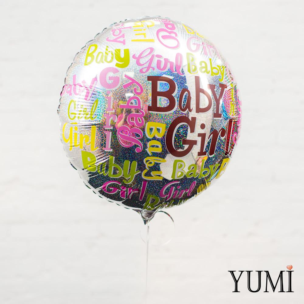 """Зеркальный фольгированный гелиевый шарик с блёстками """"Baby girl"""""""