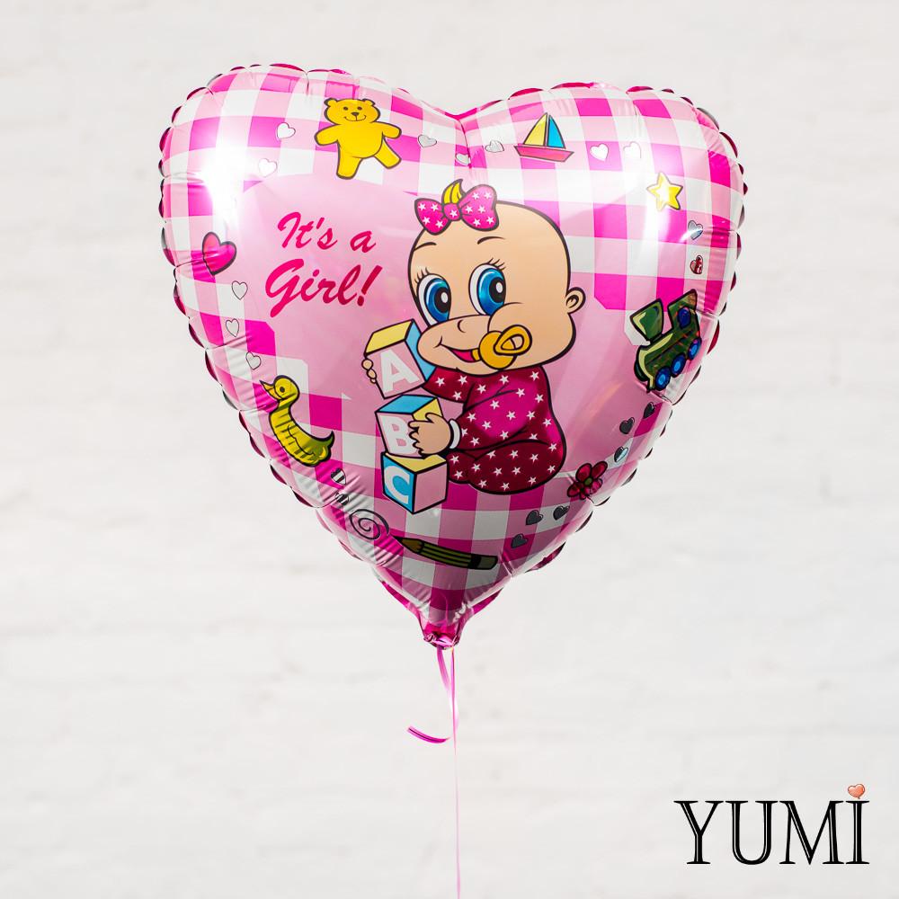 """Фольгированное розовое сердце в клеточку """"It's a Girl"""""""
