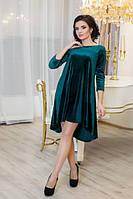 Платье молодежное велюр Солнышко зеленое свободное от груди 42, 44, 46, 48, 50р